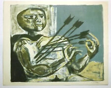 Federico Castellon Untitled Color Lithograph Signed   Man Hit by Arrows