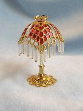 dollhouse doll house miniature ELECTRIC VICTORIAN TABLE LAMP DEEP ROSE