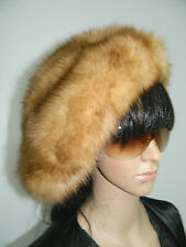 $ 2000 BLOND GOLDEN SABLE FUR HAT BONNET HUGE BERET One size