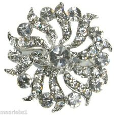 SILVER DIAMANTE SNOWFLAKE BROOCH BRIDAL SHOE CAKE TOPPER PIN JEWELLERY NEW UK