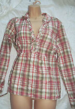 Evans grey red check cotton gypsy blouse tunic top uk 18 plaid summer frills