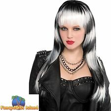 LONG BLACK/WHITE WIG WITH FRINGE WITCH GOTH HALLOWEEN ladies womens fancy dress