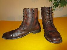KENNETH COLE REACTION Hit Men Brown Genuine Leather Cap-Toe Boots Shoes SZ 12