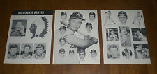 SIX 1953 MILWAUKEE BRAVES PRINTS - AARON - MATHEWS - SPAHN - BURDETTE