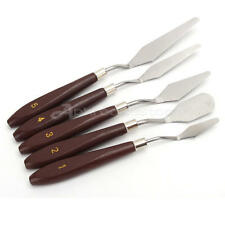 5pcs Oil Painting Palette Knives Wood Handle Metal Spatula Set Craft Supply