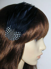 Navy Blue Fascinator FEATHER HAIR CLIP Handmade Vintage Style Dark Blue 'Gwen'
