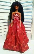1980 Barbie Black Hair Asian TNT Made in Malaysia Valentine Dress Bendable Knee