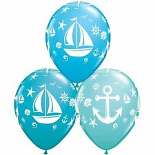 "Nautical Latex Balloons, Baby Shower, Birthday Party, 10p - 11"" Blue & Teal"