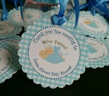 24 PERSONALISED Baby Shower Christening Party Favour Gift Tags -twins- gingham