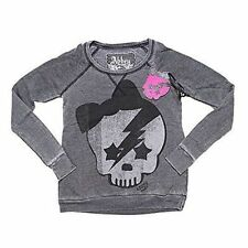 Abbey Dawn Ziggy Skull Acid Washed Women Black Pullover Small