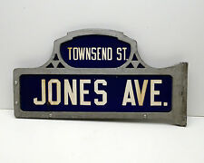 Antique Porcelain Street Sign Double sided Jones Ave Townsend Street Original!