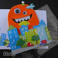 NEW Handcraft 3D Boy Monster BIRTHDAY GREETING CARD+Envelopes NWT