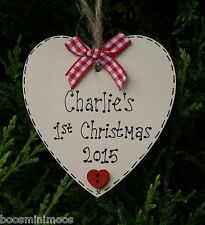 Personalised Baby's first/1st Christmas tree decoration, heart,
