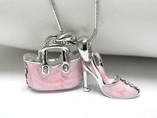 Crystal Purse Handbag Shoe Dual Pendant Enamel NECKLACE Chain NEW Light Pink