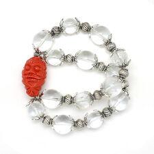 Clear Quartz with Daruma / Bodhidharma Infinity Bracelet