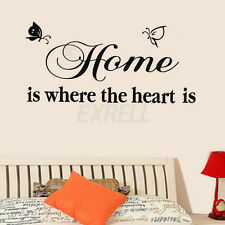 Home is Where The Heart is Words Butterfly Home Room Wall Decor Decal Sticker