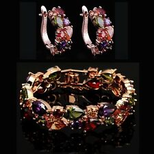 14k Rose Gold GF Bracelet Earring Set made w/ Swarovski Crystal Multicolor Stone
