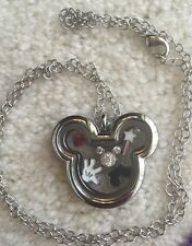 "NEW Mouse Ears Locket Necklace 6 Floating Charms 16-18"" Mickey Mouse Disney"