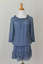 Nyll Smocked Peasant Dress Blue Cotton Silk Blend 3/4 Sleeve Made in Italy S