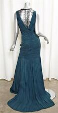 ROBERTO CAVALLI Womens Teal Sleeveless Ruched Lace Back Mermaid Gown Dress 42/8