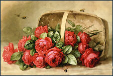 Oil painting Raoul M. De Longpre Paul - Red roses & basket bees nice still life