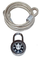 6 Foot x 6mm Silver Coil Cable & Combination Lock NEW!