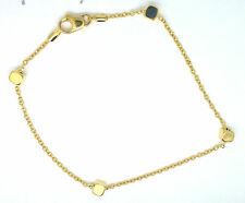 9ct Yellow Gold 7.5 inch Trace Chain Bracelet with Solid Cube Beads        09124