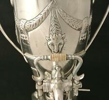 AESTHETIC SILVER PLATE FIGURAL SAMOVAR LION FACED REPTILE HOTWATER POT COFFEEPOT
