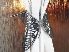 Butterfly Curtain Tie Clip x1 Brushed Metal Rustic Black Design Hold Back