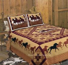 HORSE COUNTRY Full Queen QUILT SET : COWBOY STAR BROWN WESTERN BRONCO HORSES