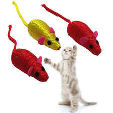 SET OF 3 SMALL COLOURED ACTIVITY PET CAT KITTEN SOFT PLAY MOUSE MICE BALLS TOY