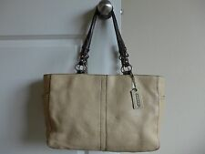 Coach Beige and Brown Pebbled Leather Large Totes Shoppers Shoulder Bag