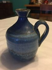 Clay Pottery Small Jug Bud Vase Blue Signed