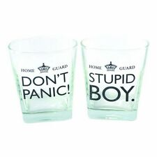 Dad's Army Stupid Boy Don't Panic Set Of 2 Whisky Glasses TV Show Gift Present