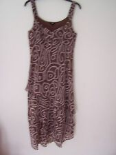 PER UNA, Ladies Brown Patterned Dress, Size 14R