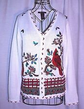 Lena Jeans Beaded Cardinal Cardigan Sweater Holiday Winter Scene Size S Small