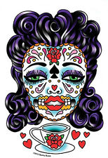 TEA CUP MEXICAN SUGAR SKULL SEXY GUITAR STICKER/Vinyl DECAL Art By Sunny Buick
