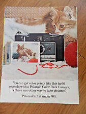 1966 Polaroid Color Pack Camera Ad Model 100  Kitten Cat