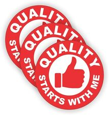(3) Quality Starts With Me Hard Hat Stickers | Helmet Decals Safety Labels