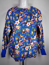 Crest Scrub Uniform Jacket Top Aloha Hawaii Size Medium Warm Up Long Sleeve Blue
