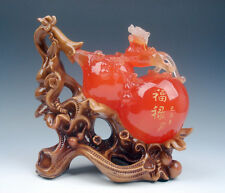 Gorgeous Agate Wood Crafted FengShui Sculpture Monster Pi-Xiu Bottle Gourd HU-LU