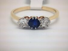 Edwardian sapphire and  old cut diamond ring size N
