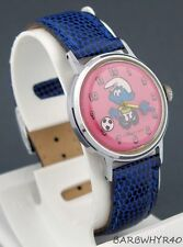 Vintage wind-up SMURF Timex Character Watch w/ Animated Football and Pink Dial