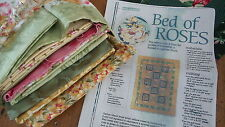 QUILT KIT w/ FABRIC & INSTRUCTIONS Bed of Roses, Gold, Pink, and Green Floral