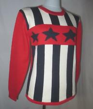 1985 Fido Dido Novelty Patriotic Sweater Red White Blue Flag, Americana S/M