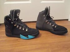Used Worn Size 9 Nike Kd VI NSW Lifestyle Leather Shoes Black Gamma Blue Gray