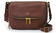 FOSSIL Preston Small Flap Crossbody Handbag Genuine Leather Espresso MSRP $168