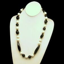 Vintage Necklace Mid Century Chunky Black White Larged Twisted Round Beads