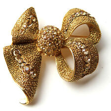 Stunning Joan Rivers Pave Crystal Gold Tone Bow Brooch Pin Topaz Rhinestone