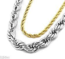 "Mens 16K Gold & Silver Plated 5mm & 10mm Rope Chain Necklace 24"" & 30"" Set"